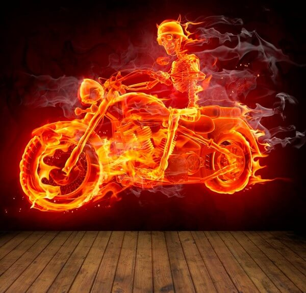 Vlies XXL Poster Fototapete Tapete Flammen Burn Bike