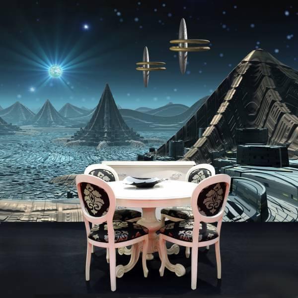 Poster Fototapete Fantasy Außerirdische Stadt