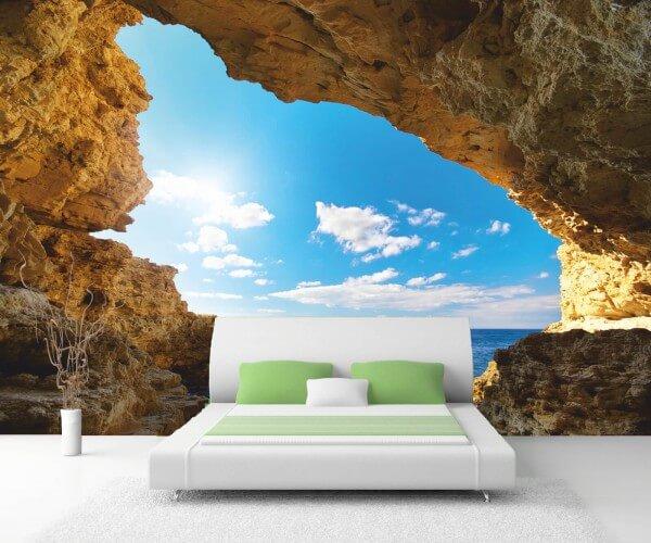 Vlies XXL-Poster Tapete Fototapete Natur Grotte im Sonnenschein