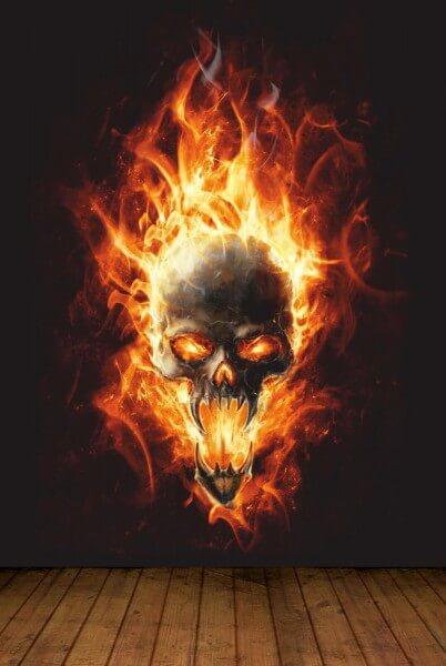 Vlies XXL Poster Fototapete Tapete Totenkopf in Flammen