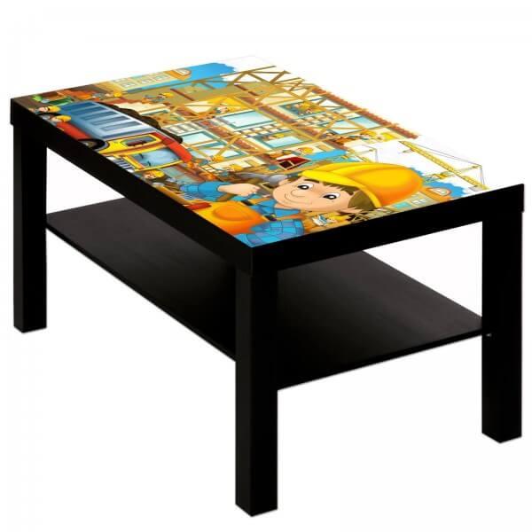 Couchtisch Tisch mit Motiv Bild Kinder Bauarbeiter