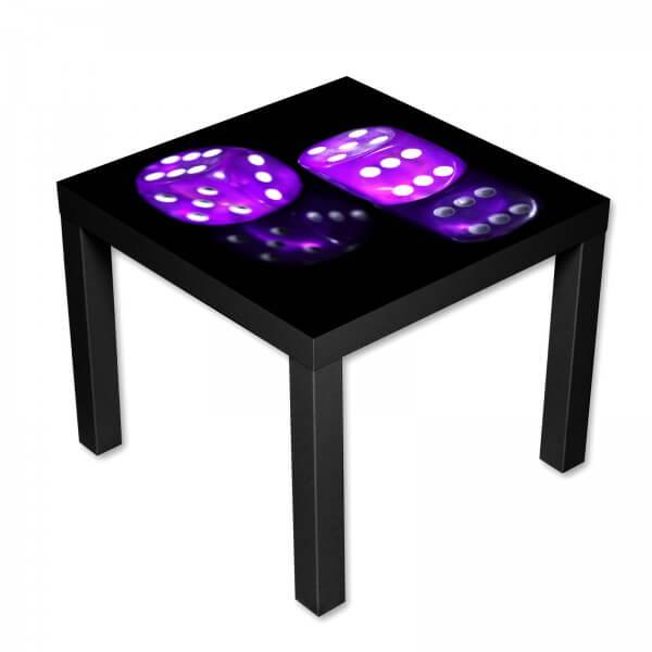 Beistelltisch Couchtisch mit Motiv Casino Würfel in lila auf schwarz