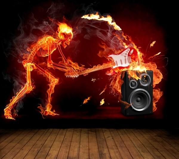 Vlies XXL Poster Fototapete Tapete Flammen Skelett Gitarre