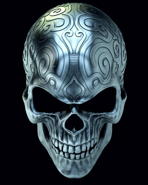 Vlies Tapete XXL Poster Fototapete Totenkopf Tribal Metall