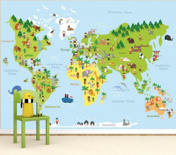 Vlies Tapete Poster Fototapete Kinderzimmer Landkarte Weltkarte ...