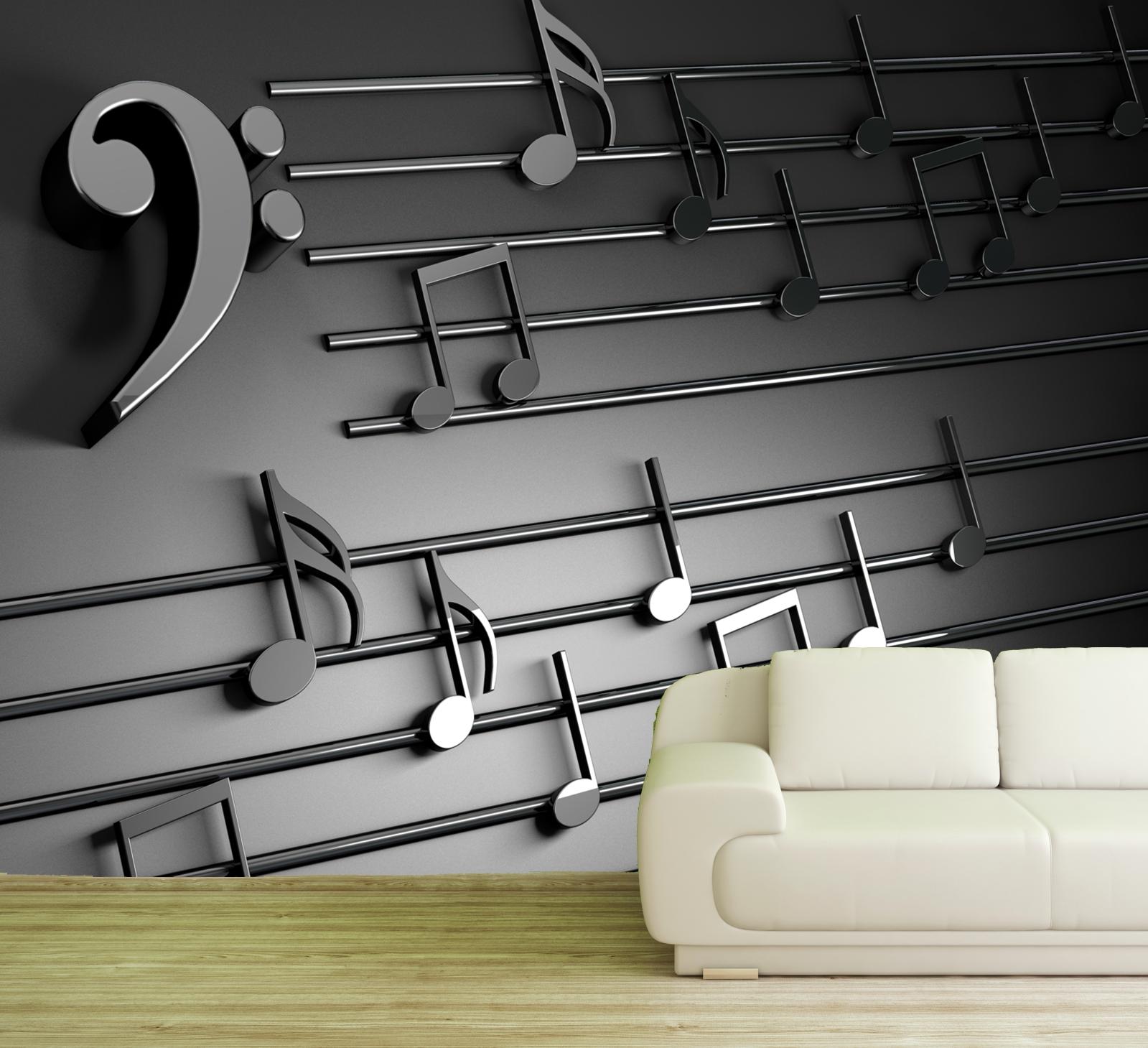 Vlies Tapete XXL Poster Fototapete 3D Noten Bassschlüssel