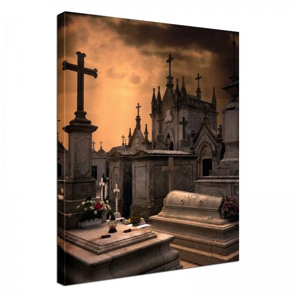 Leinwand Bild edel Gothic black Gruft Friedhof