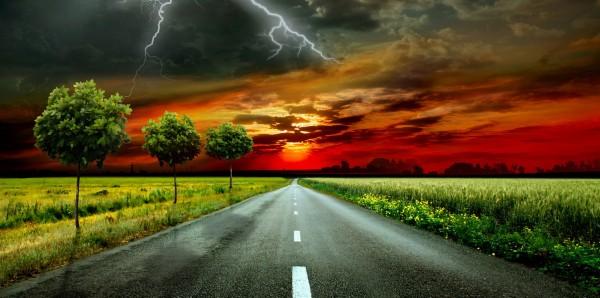 Magnettafel Pinnwand Bild XXL Panorama Road Trip Blitz Donner