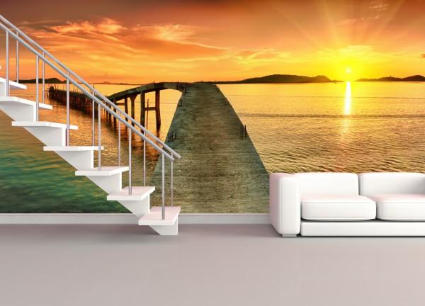 XXL Poster Fototapete Tapete Vlies Natur Karibik Steg in den Sonnenuntergang