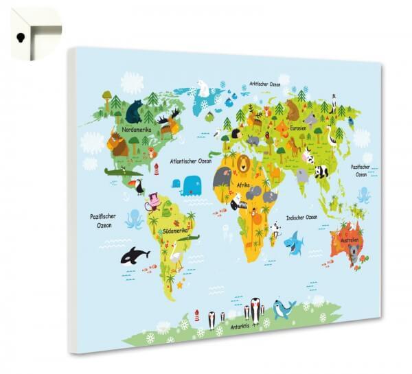 Magnettafel Pinnwand Weltkarte für Kinder