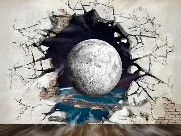 Vlies Tapete Fototapete 3D Effekt Mauer Erde Planet