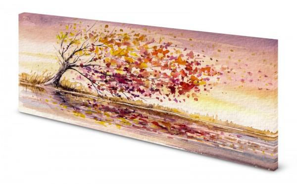 Magnettafel Pinnwand Bild Aquarell Baum Herbst Wind gekantet