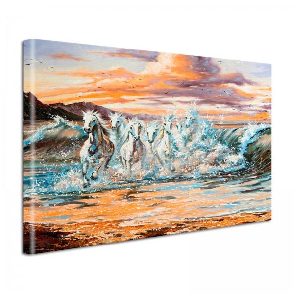Leinwandbild Gemälde Pferde im Meer