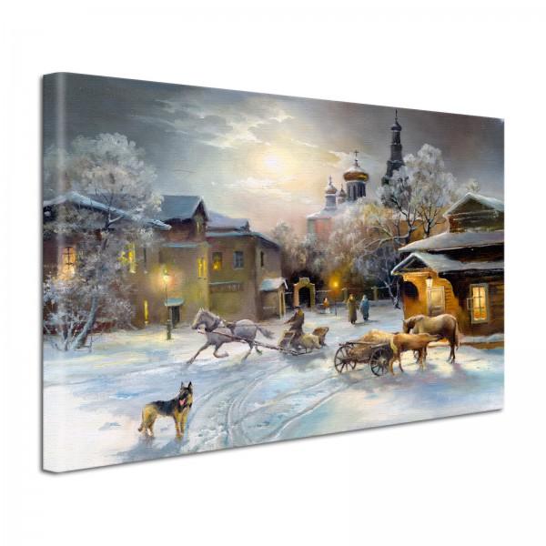 Leinwandbild Gemälde Winterabend
