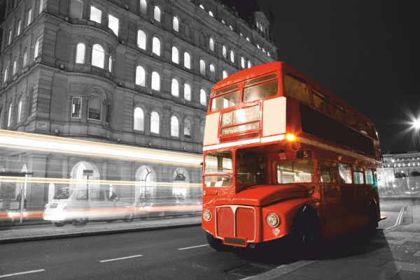 Magnettafel Pinnwand XXL Bild Big red Bus England