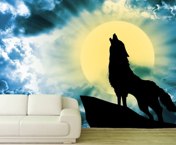 Vlies Tapete XXL Poster Fototapete Wolf Vollmond