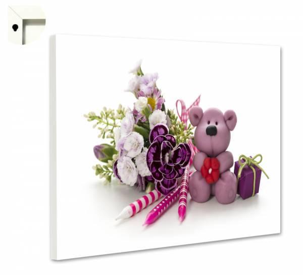 Magnettafel Pinnwand mit Motiv Teddy Bär in lila