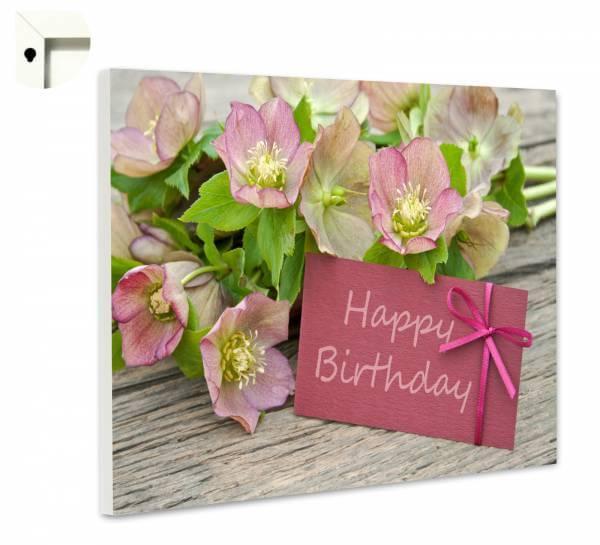 Pinnwand Magnettafel Motiv Blumen auf Holz zum Geburtstag