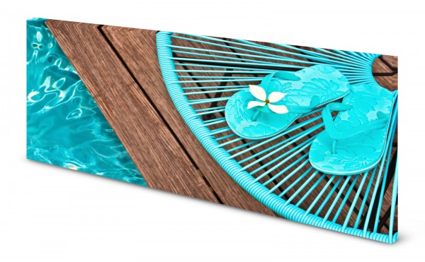 Magnettafel Pinnwand Bild Urlaub Holz Wasser türkis Flip Flops