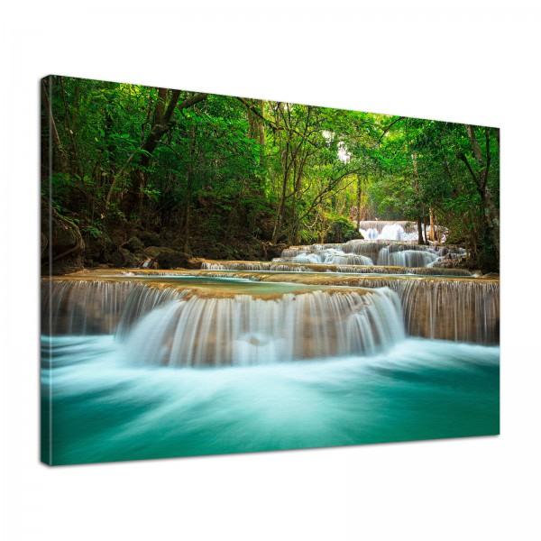 Leinwand Bild edel Natur Wasserfall Fluss