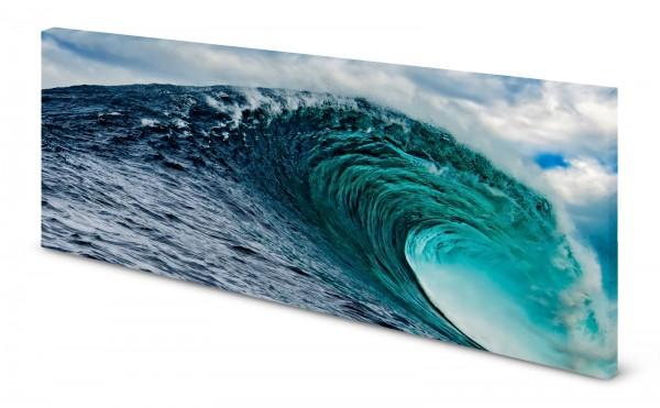 Magnettafel Pinnwand Bild Meer Welle Wellentunnel Surfen gekantet