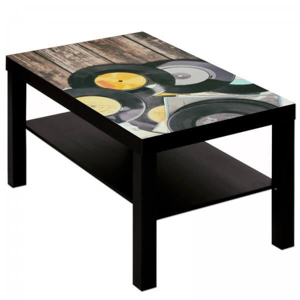 Couchtisch Tisch mit Motiv Bild Retro Schallplatten Holz
