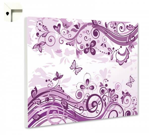Magnettafel Pinnwand Motiv Schmetterlinge & Blumen in lila