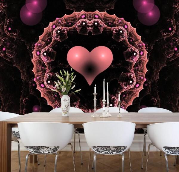 Vlies XXL-Poster Fototapete Tapete Muster Herz schwarz rosa