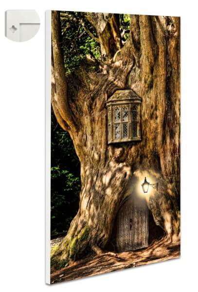 Magnettafel Pinnwand Fantasy Baum Haus Holz