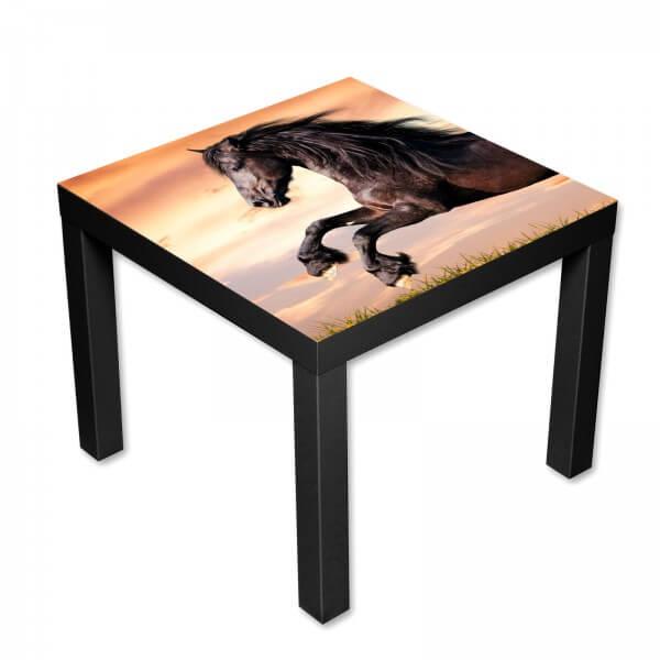 Beistelltisch Couchtisch mit Motiv Tiere Springendes Wildes Pferd