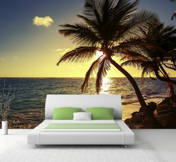 XXL Poster Fototapete Tapete Vlies Natur Karibik Palmen im Sonnenuntergang