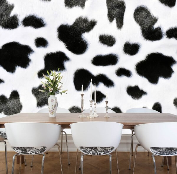 Vlies XXL-Poster Fototapete Tapete Muster Kuh Fell schwarz weiß