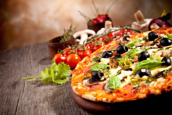Magnettafel Pinnwand XXL Bild Pizza Oliven Veggie Italien Restaurant