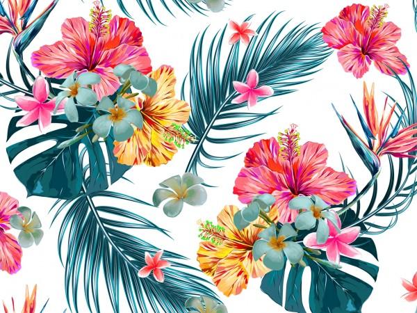 Vlies Tapete Poster Fototapete Muster Blumen Tropen Palmenblätter