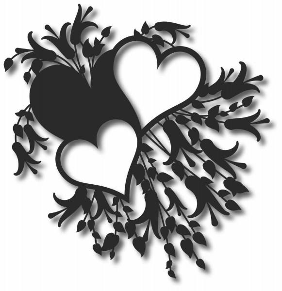 Bild Wandbild 3D Wandtattoo Acryl Mobile Herz Blumen Muster