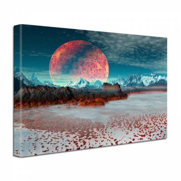Leinwand Bild edel Fantasy Science Fiction Roter Planet