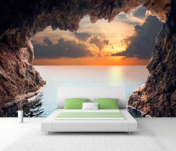 Vlies XXL-Poster Fototapete Natur Grotte in der Abendsonne