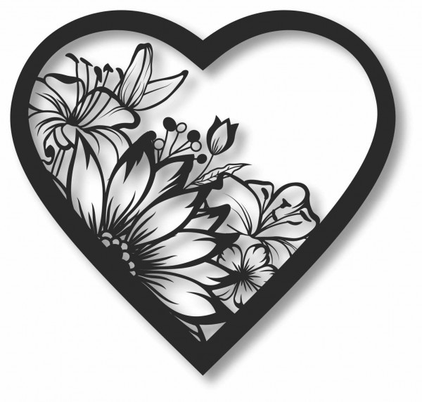 Bild Wandbild 3D Wandtattoo Acryl Mobile Herz Sonnenblume Blumen