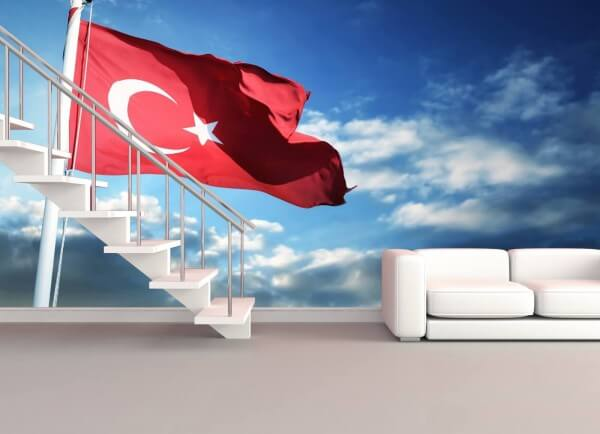 Vlies Tapete XXL Poster Fototapete Türkei Flagge Fahne