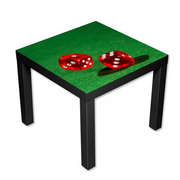 Beistelltisch Couchtisch mit Motiv Casino Würfel in rot