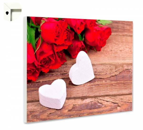 Magnettafel Pinnwand Natur Blumen Rosen & Herz auf Holz