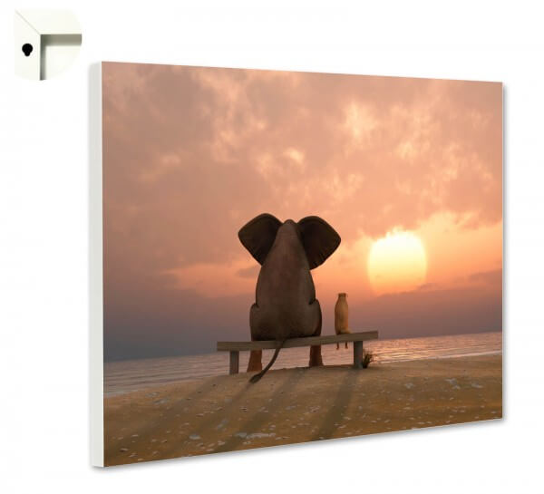Magnettafel Pinnwand Memoboard mit Motiv Elefant & Hund Freundschaft