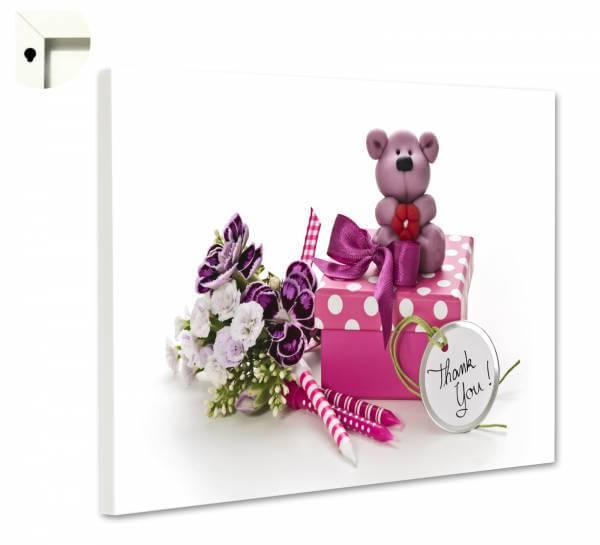 eaffadf2eaec2d Magnettafel Pinnwand Magnettwand mit Motiv Teddy Bär Danke in rosa und lila