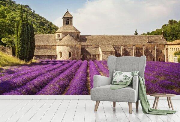Vlies Tapete Poster Landschaft Kloster Frankreich Lavendel Provence