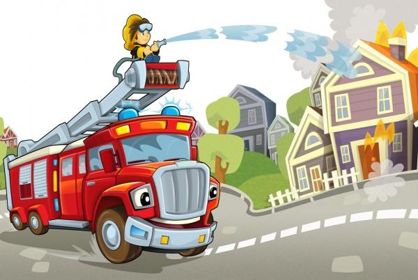 Magnettafel Pinnwand Magnetbild Kinderzimmer Feuerwehr