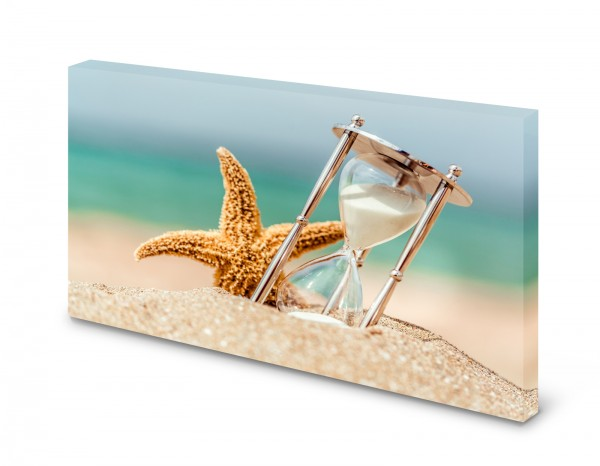 Magnettafel Pinnwand Bild Seestern Sanduhr Strand Natur