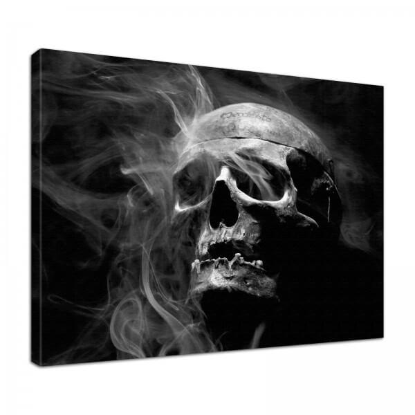Leinwand Bild edel Gothic black Totenkopf Skull Smoke