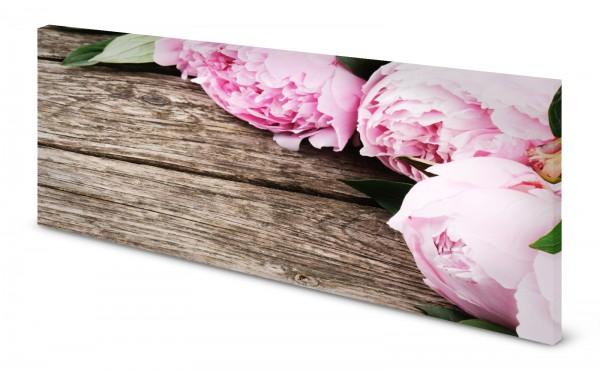 Magnettafel Pinnwand Bild Blumen Pfingstrosen rosa Holz gekantet