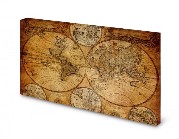 Magnettafel Pinnwand Bild Weltkarte Seefahrerkarte Antik gekantet