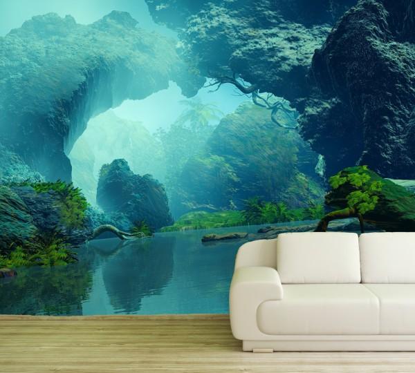 Vlies Tapete XXL Poster Fototapete Fluss Lagune Nebel